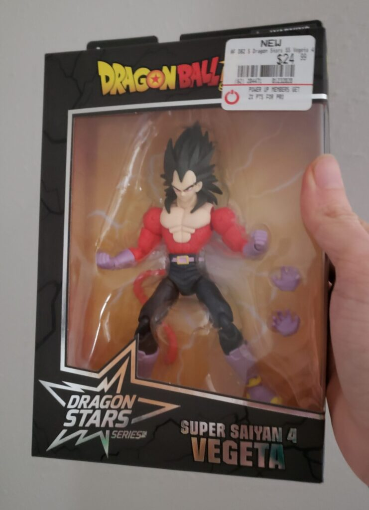 SS4 Vegeta in package, complete with GameStop price tag.