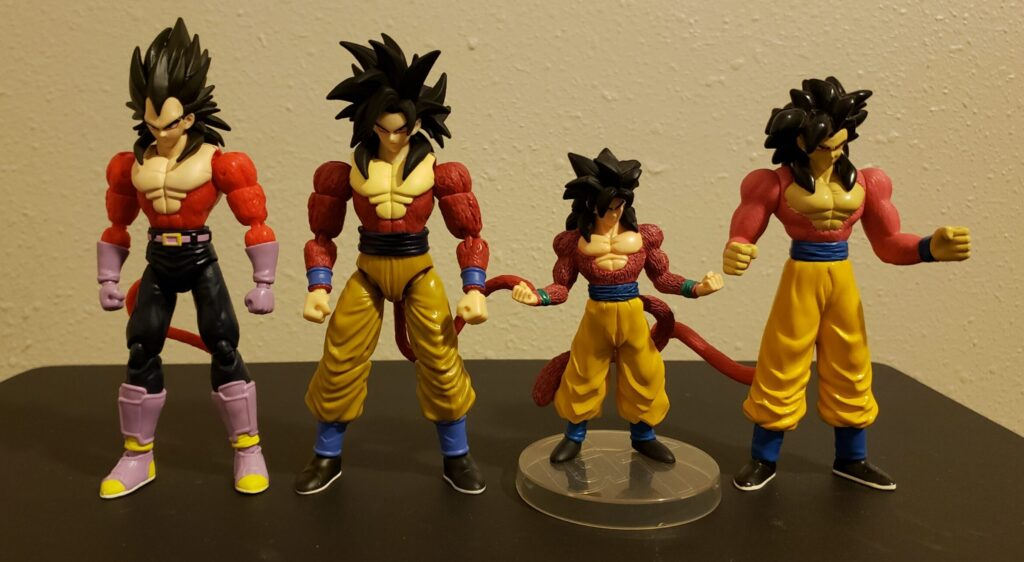 SS4 Vegeta & Goku from Dragon Stars with some earlier SS4 Goku figures from Bandai.