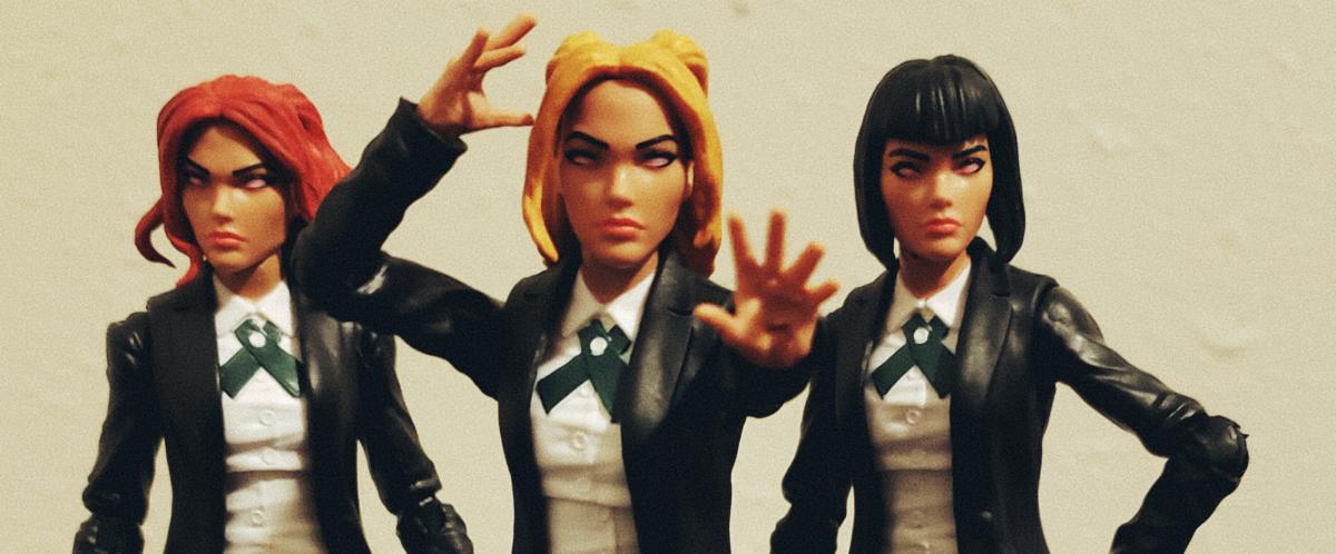 Phoebe, Celeste, and Irma -- the 3 Stepford Cuckoos circa Bendis & Bachalo's Uncanny X-Men.